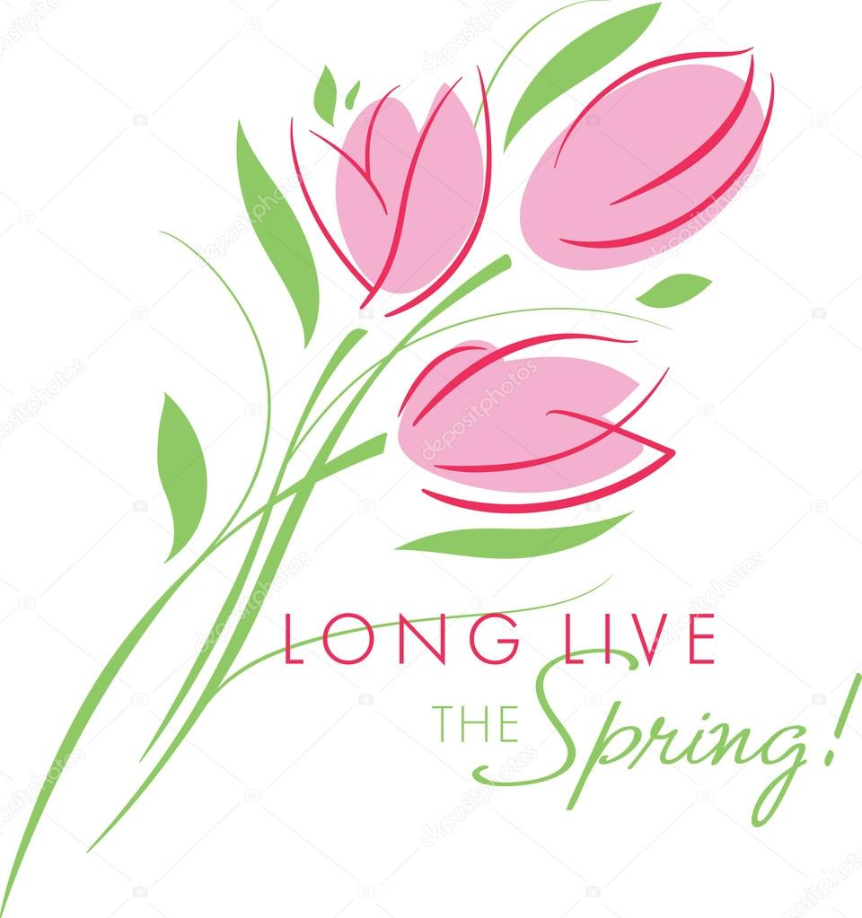 Karte-Begrüßung mit Beginn des Frühlings; Rosa Tulpen Strauß ...