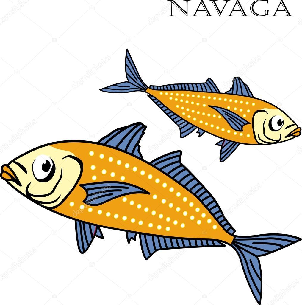 Ilustración de vector de Nagava peces color de dibujos animados ...