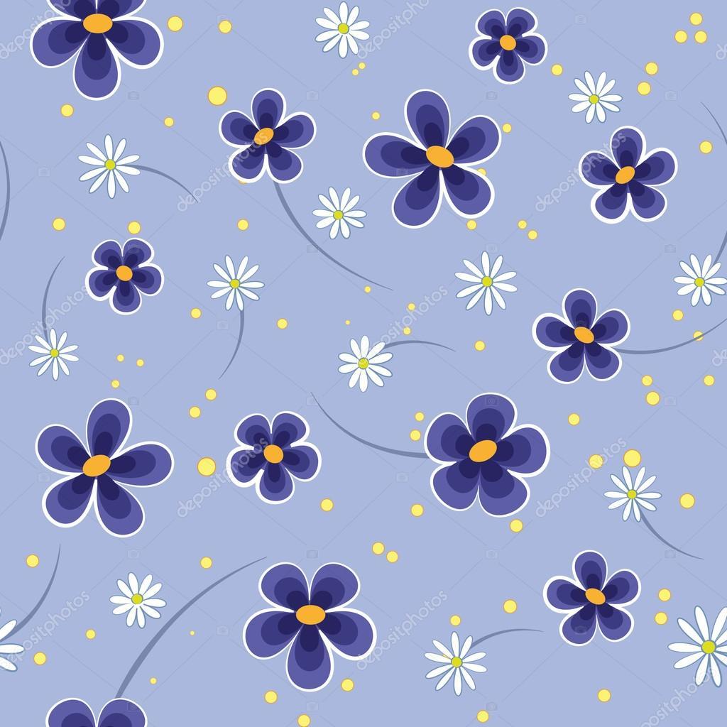 Seamless Patron De Flores Azules Y Blancos Sobre Fondo Azul Vector