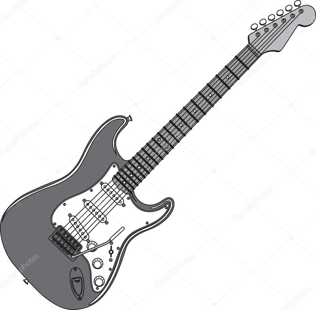 Fondo Guitarra Electrica Sin Blanco Y Negro Ilustración De