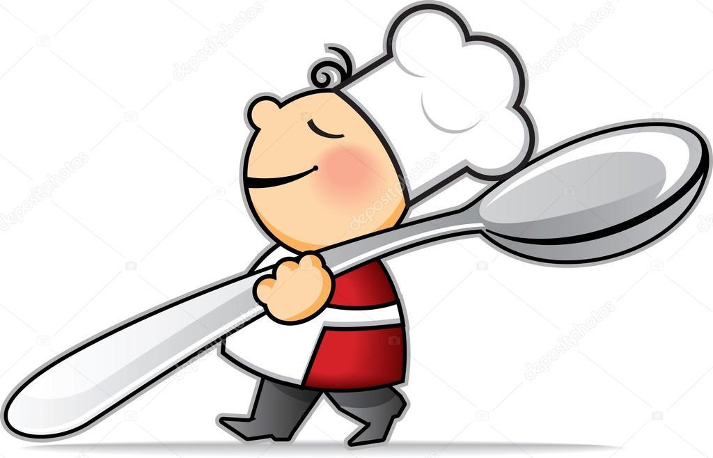 Cocinero de dibujos animados poco con una cuchara muy for Cocinar imagenes animadas