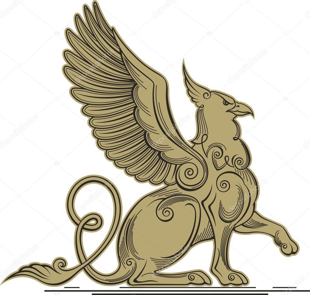 グリフィン 頭 爪の翼と神話上の生き物 ストックベクター hillway