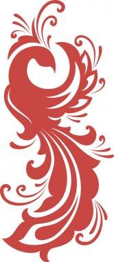 Red firebird silhouette