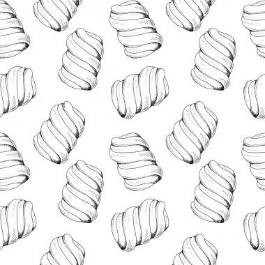 Seamless stylish pattern with marshmallows in a handmade sketch