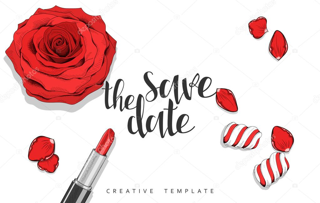 Beauty background with roses, petals, sweets. Stylish template in red