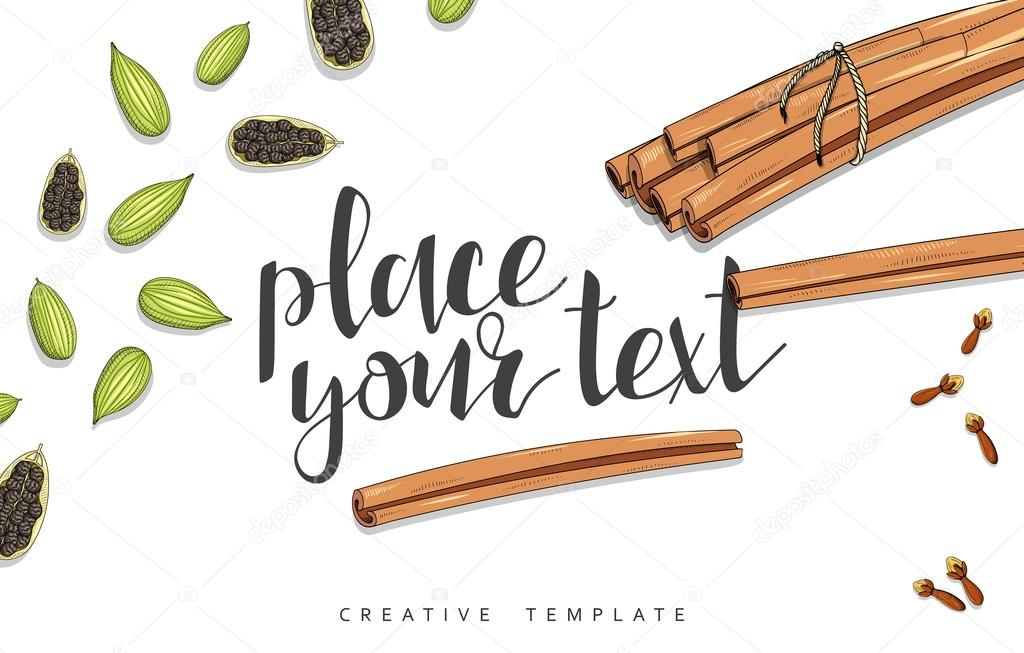 Beauty background with spice, cinnamon, cardamom, cloves, allspice in sketch
