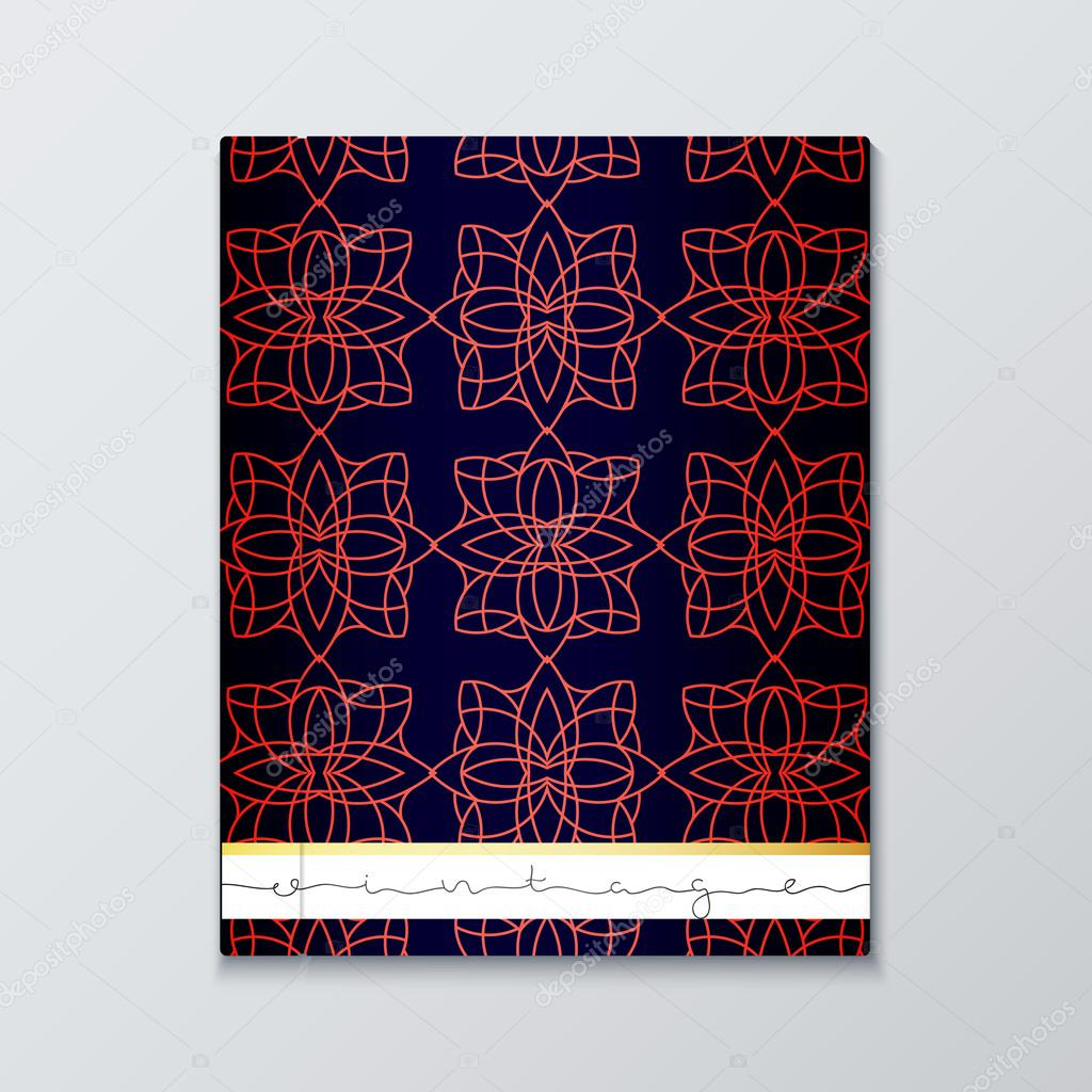 magazine cover with geometric patterns cover page template