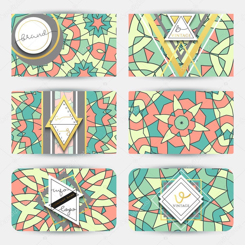 Business card set.  Card with geometric mandala pattern