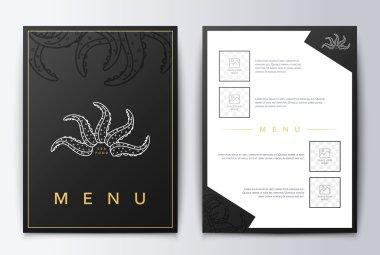 Design cover menu. Food flyer brochure. Sea restaurant menu design.
