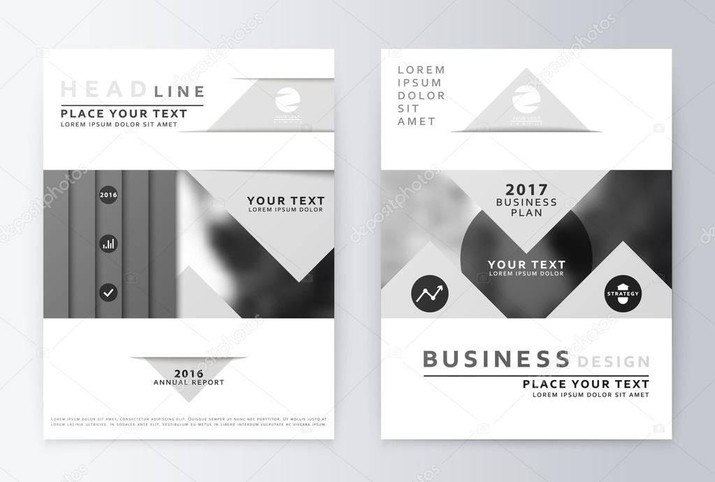 gray annual report design of the first and last page ストック