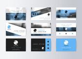 Sada karet podnikání, modré pozadí. Informační karta šablony