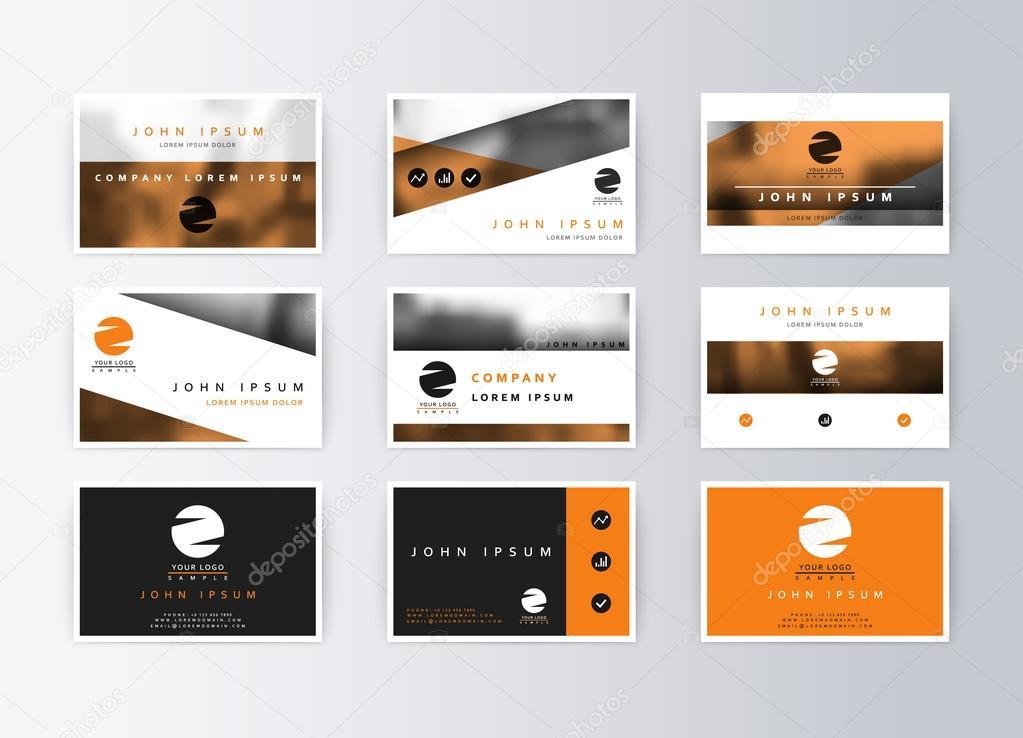 Set of business cards, orange background. Template information ...
