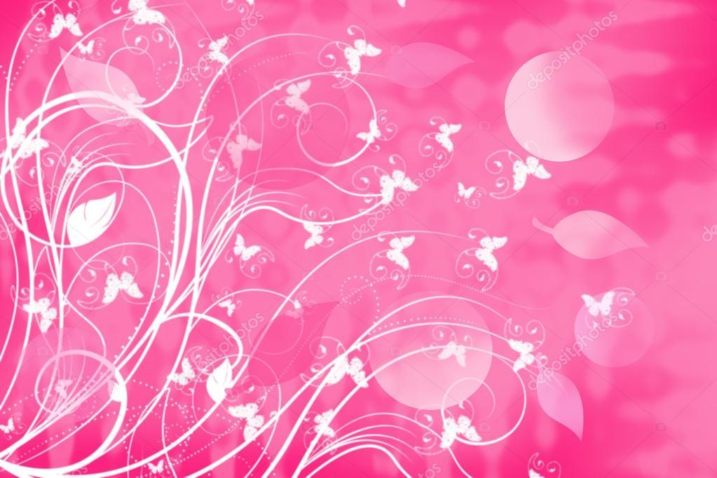 Sfondo Rosa Con Fantastici Rami Di Piante E Farfalle Foto Stock