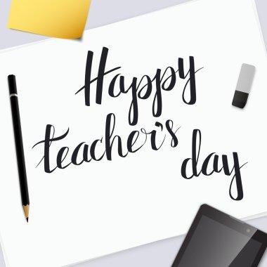Vector insciption Happy Teachers Day.