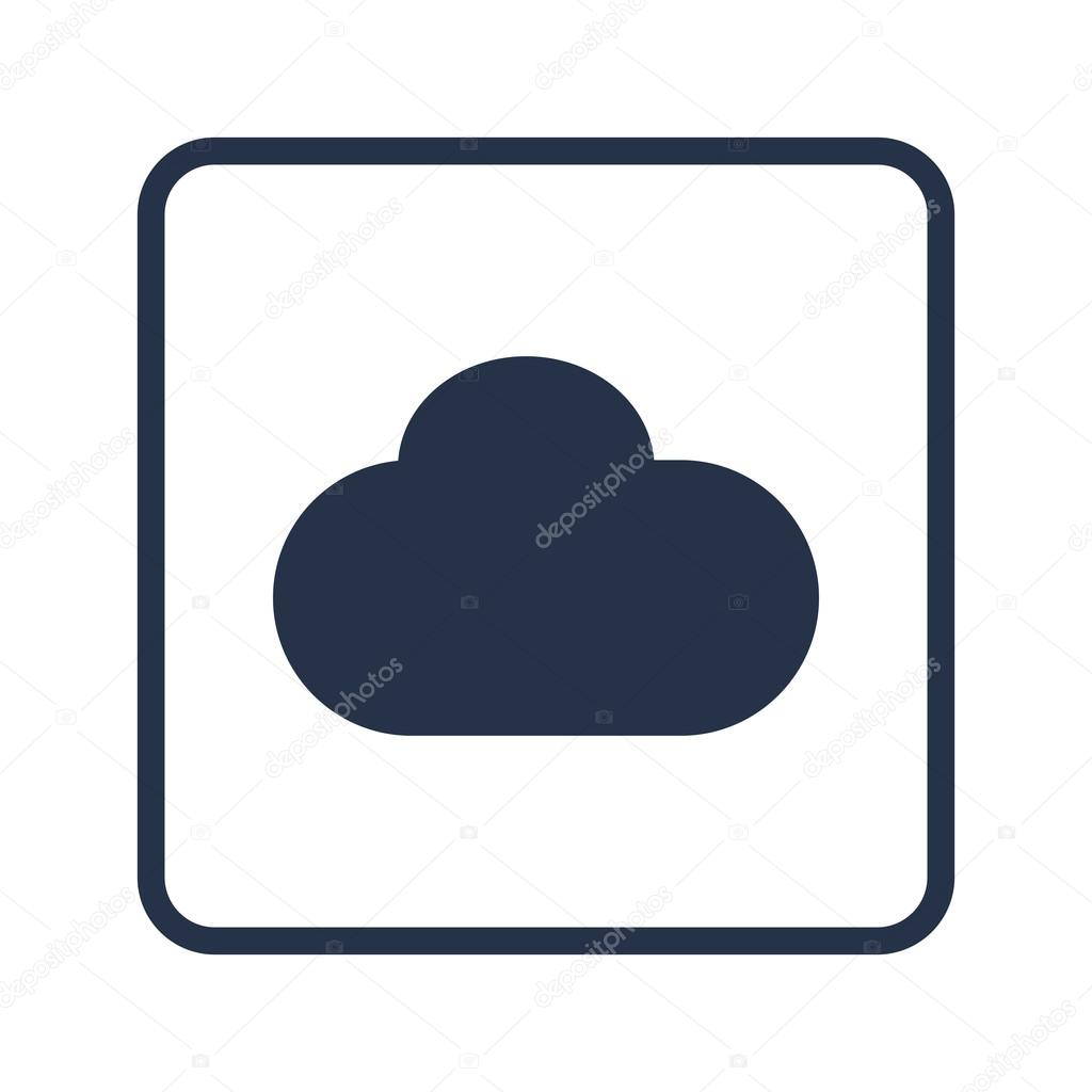 Cloud Icon On White Background Rounded Rectangle Border Blue Outline Vector By Aalbedouingmail