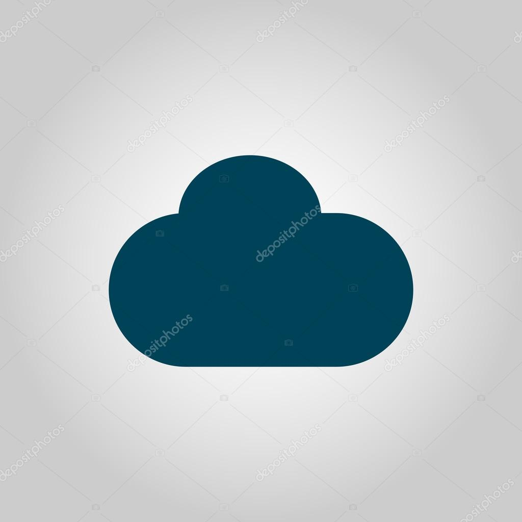 Cloud Icon On Grey Background Blue Outline Large Size Symbol Stock Vector