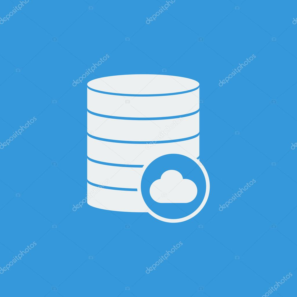 Database Cloud Icon On Blue Background White Outline Large Size Symbol Vector By Aalbedouingmail