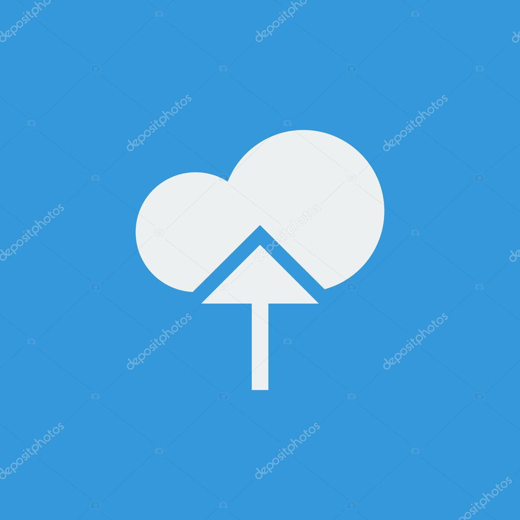 Cloud Upload Icon On Blue Background White Outline Large Size Symbol Stock