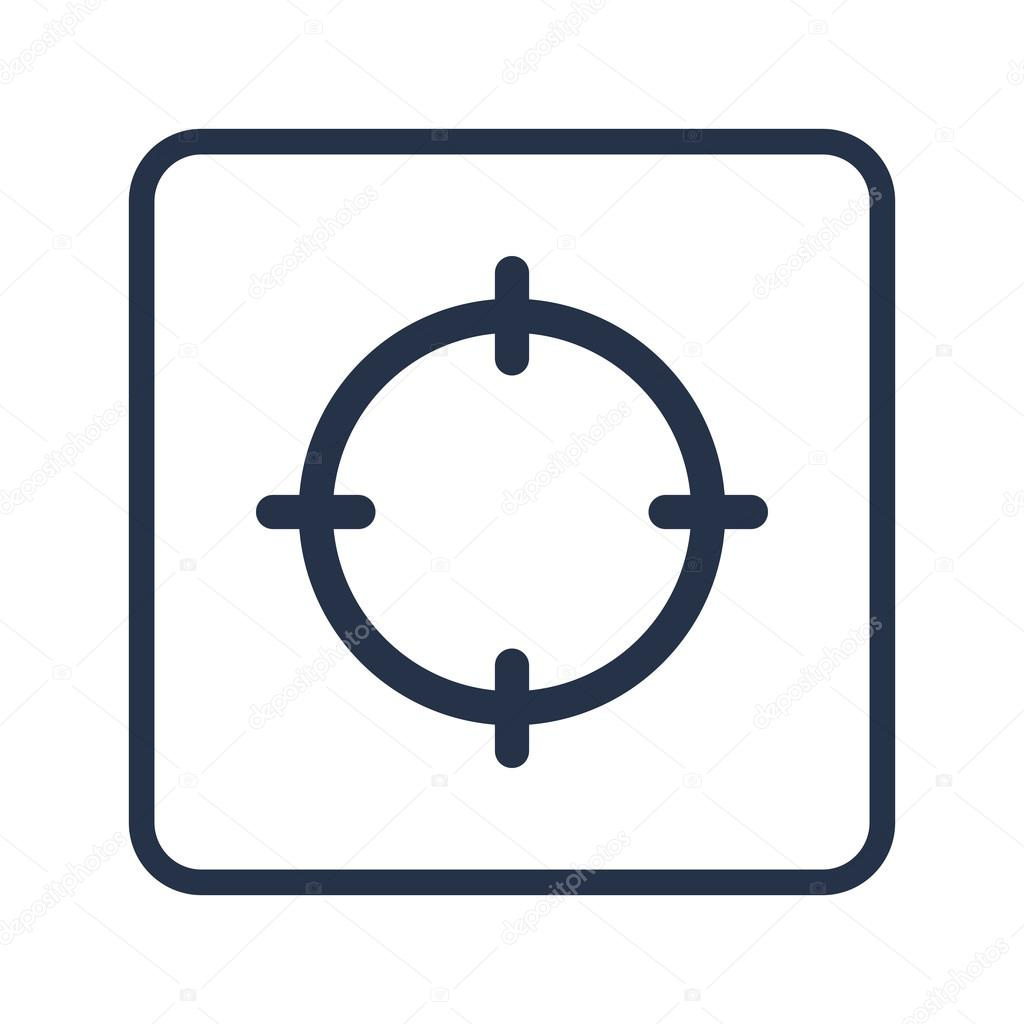 aim icon on white background rounded rectangle border blue outline stock vector c aalbedouin gmail com 102993496 depositphotos