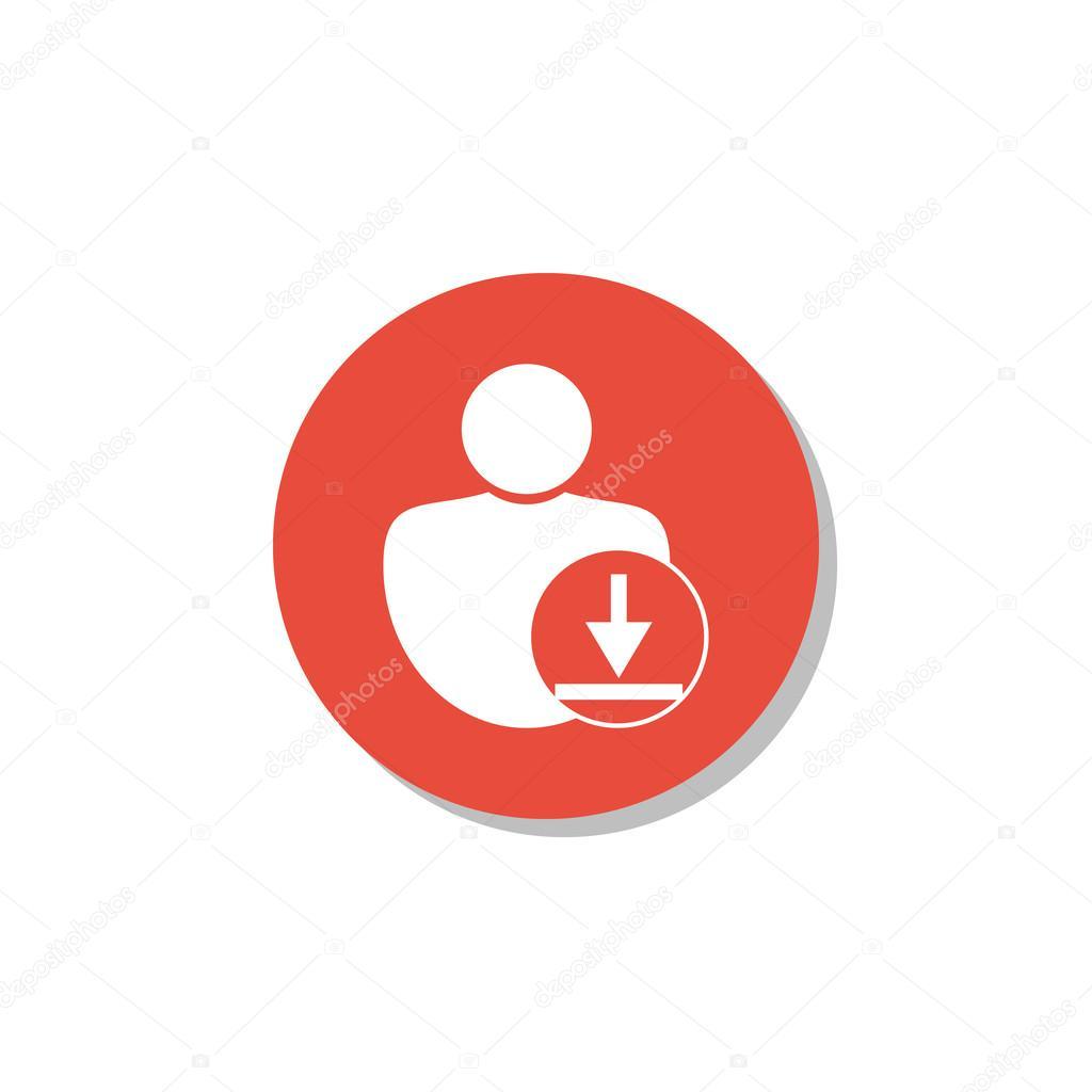 Télécharger icône d'utilisateur, symbole de téléchargement.
