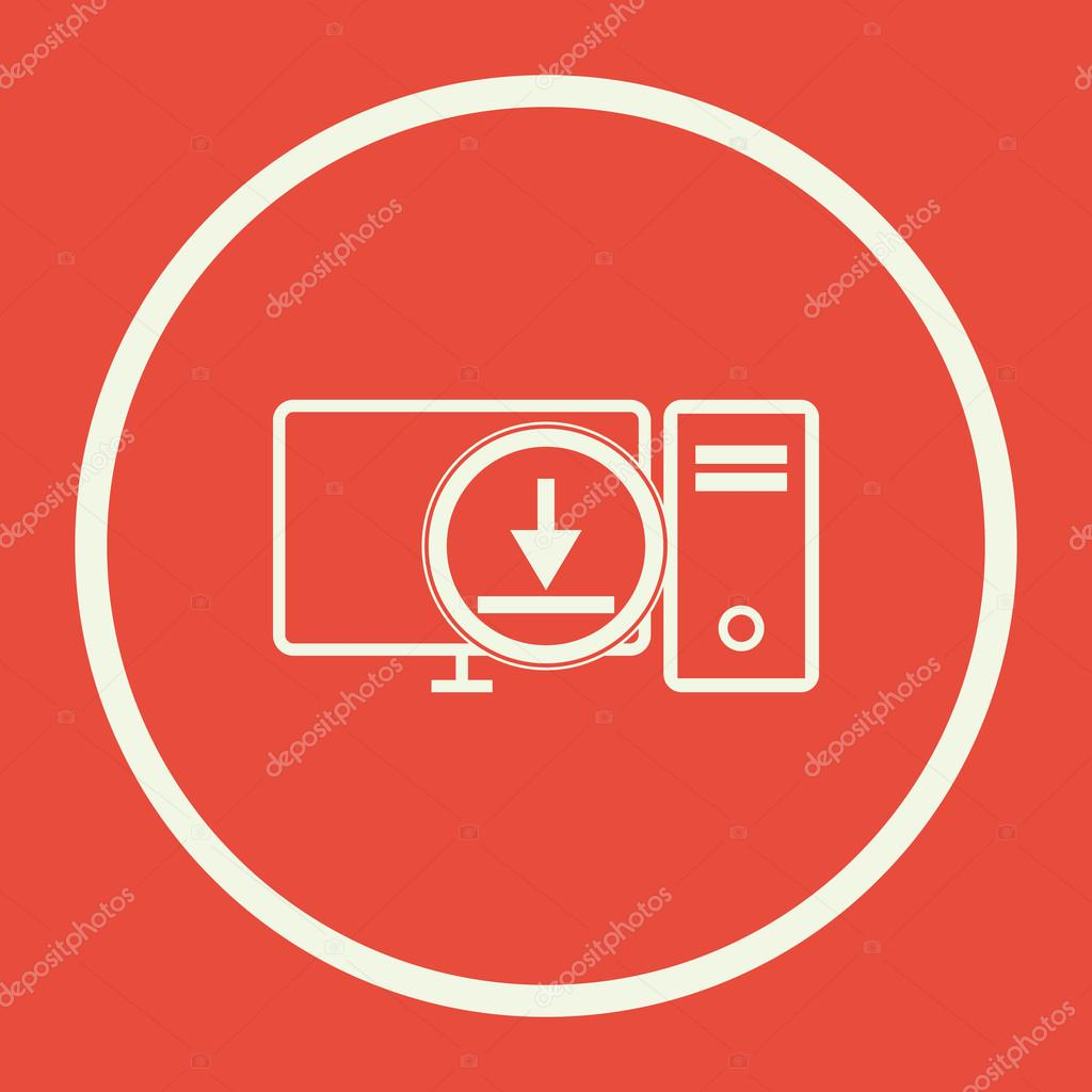Pc Download Icon, Pc Download Eps10, Pc Download Vector, Pc Download