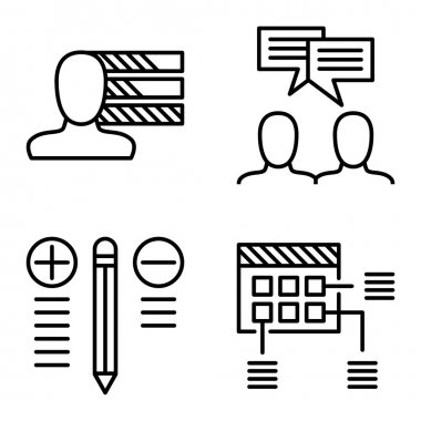 Set Of Project Management Icons On Personality, Idea Brainstorming And Best Solution. Project Management Vector Icons For App, Web, Mobile And Infographics Design.