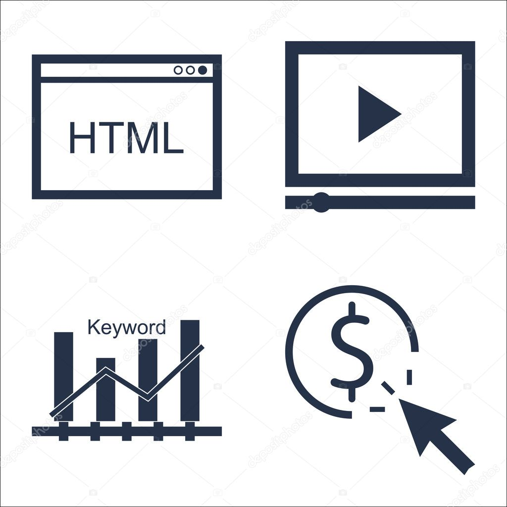 Set Of SEO, Marketing And Advertising Icons On Video