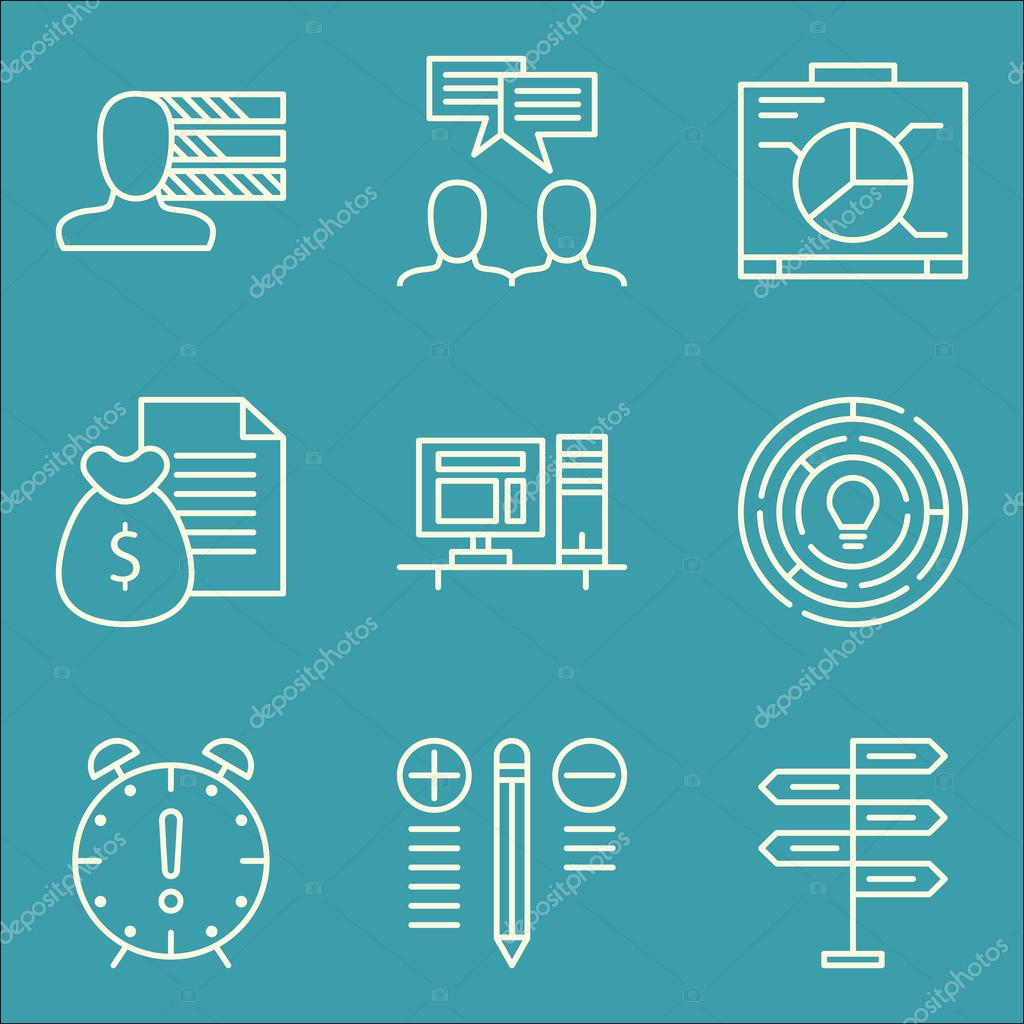 Set of project management icons on graph personality workspace and set of project management icons on graph personality workspace and more premium quality eps10 vector illustration for mobile app ui design ccuart Gallery
