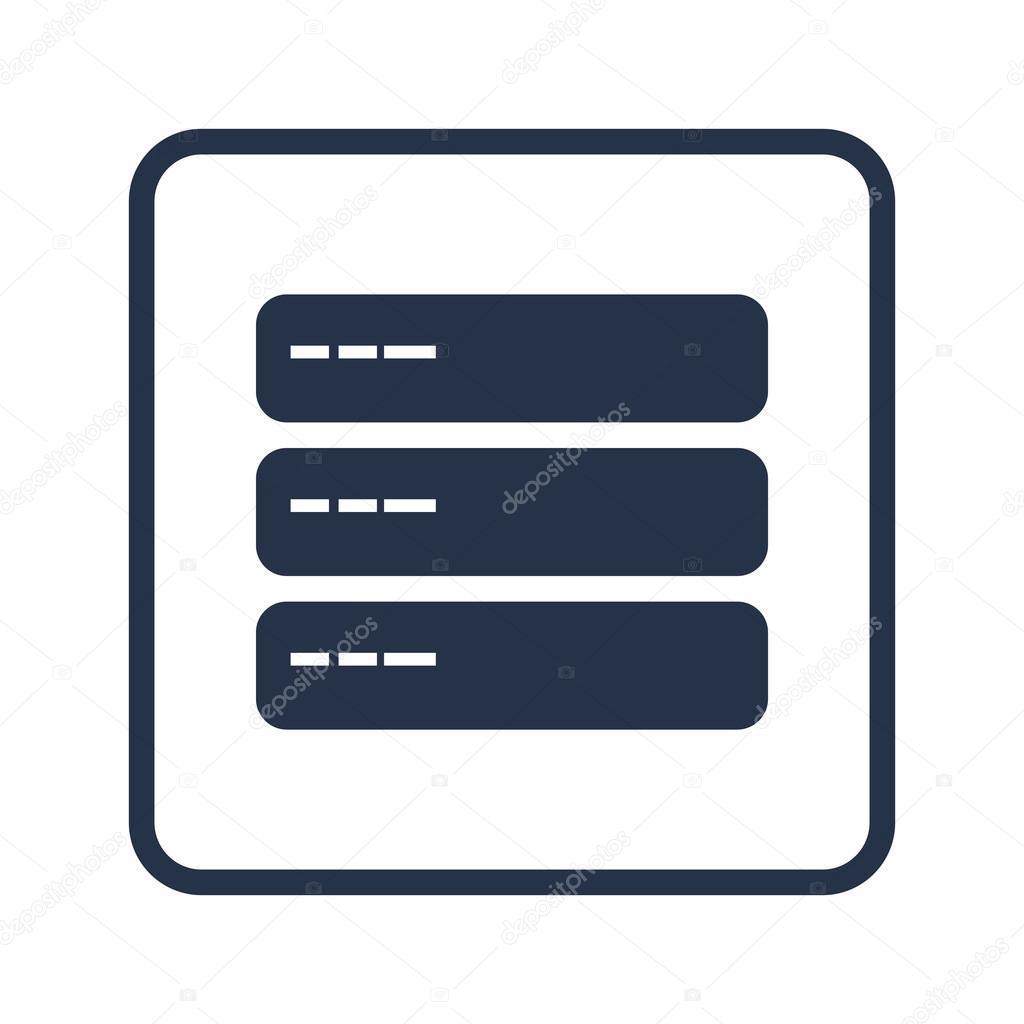 Server icon, on white background, rounded rectangle border