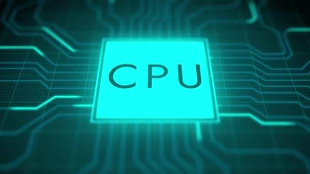 Tmavé téma Vizualizace procesoru obvodové desky Spouštění digitalizačního procesu a výpočtů informací, zpracování bitů dat.
