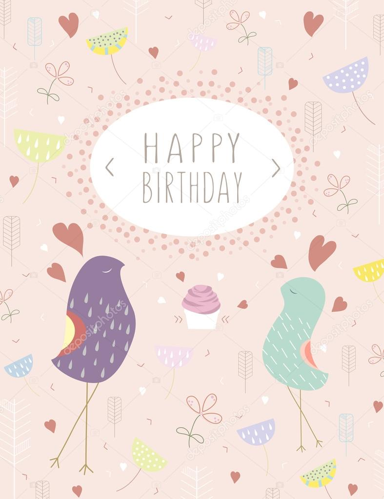 template happy birthday card vector greeting template card with