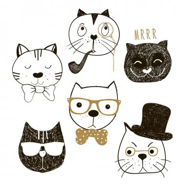 Hand drawn cats heads collection. Emotional faces cats hipsters and gentlemen. Vector illustration