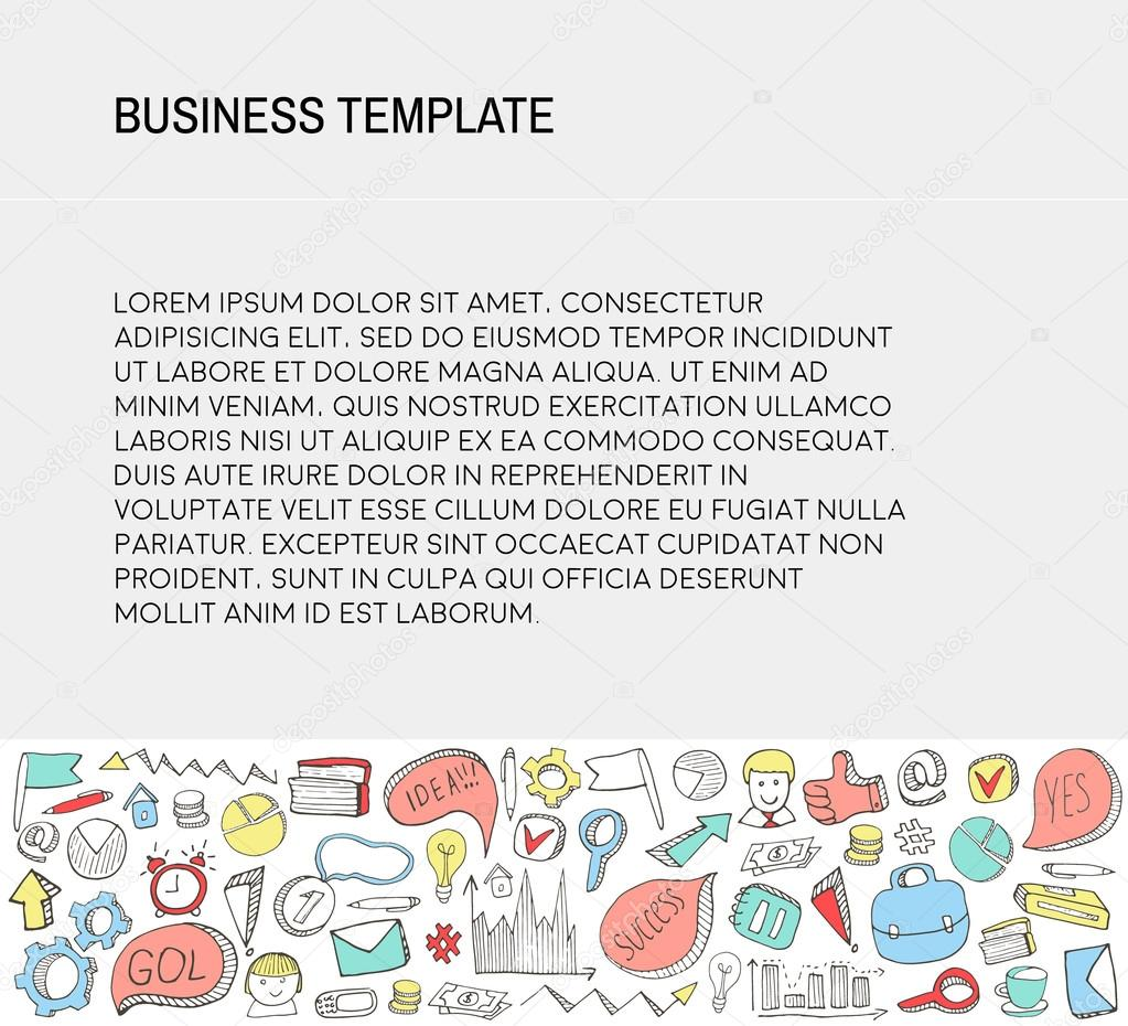 Business Card Template With Doodles Icons Set Sketch Stockvektor