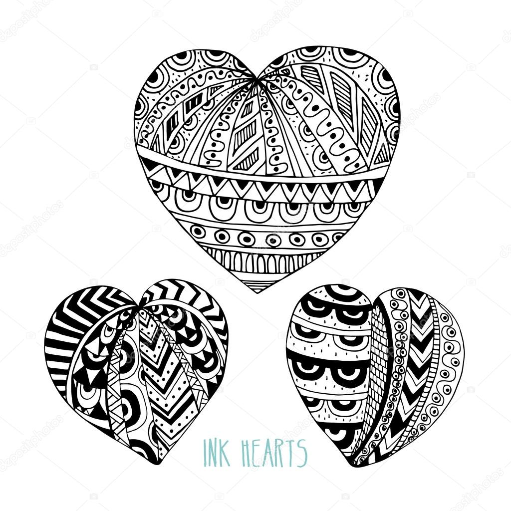 Set of vector decorative ink hearts. Template for greeting cards ...