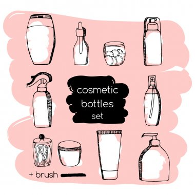 Cosmetic tubes and bottles plus grunge brush strokes. Doodle Cosmetic packaging set
