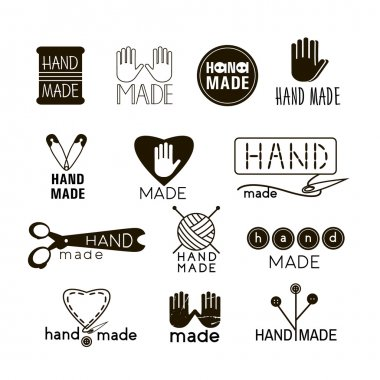 Handmade black and  thin line icons isolated on white. Set of hand made labels, badges and logos for design. Handmade workshop logo set. Vector illustration