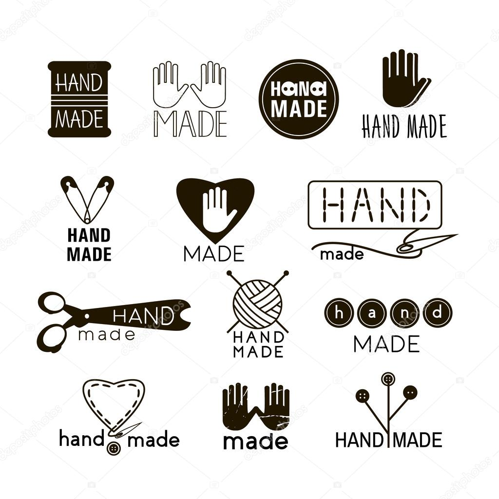 handmade black and thin line icons isolated on white set of hand