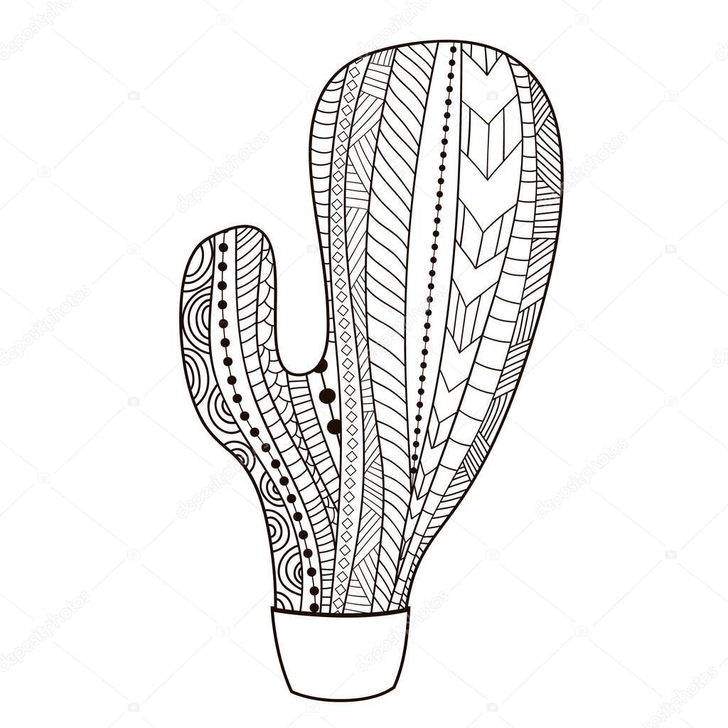 Estilo étnico, tribal del cactus. Cactus para colorear. Impresión ...