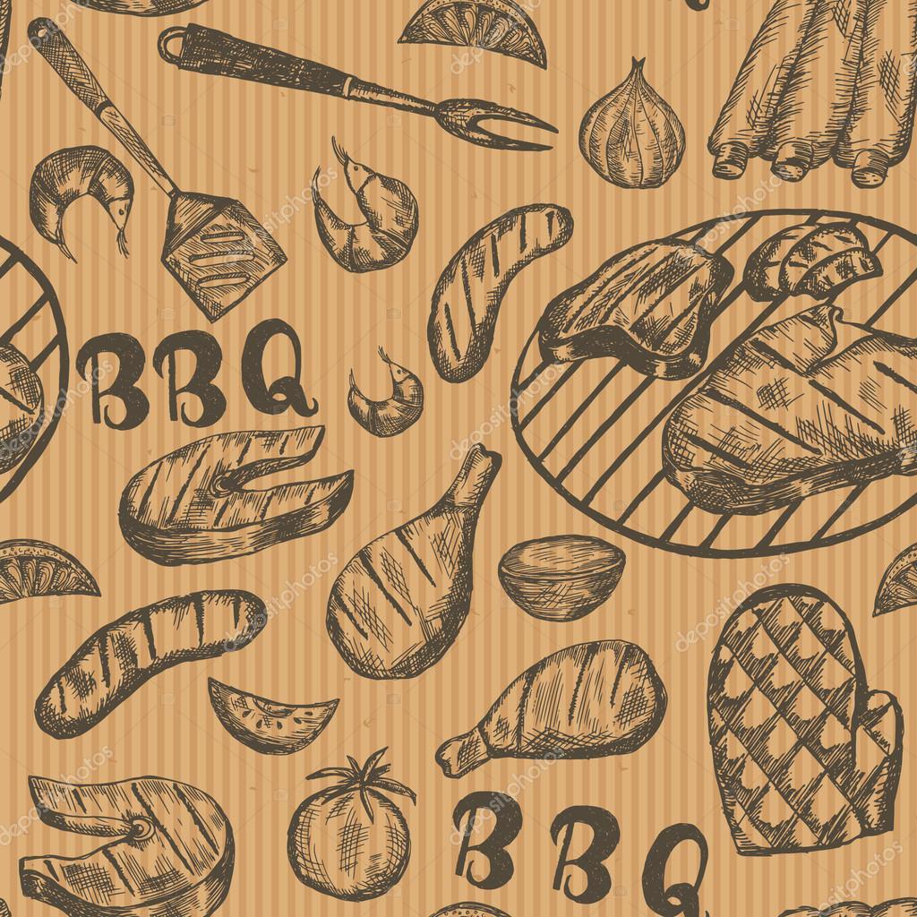 e9dd3b22f0e8 Minta grill ételeket, a papír kézműves. Grill kézzel rajzolt húsipari  termékek barna háttér.