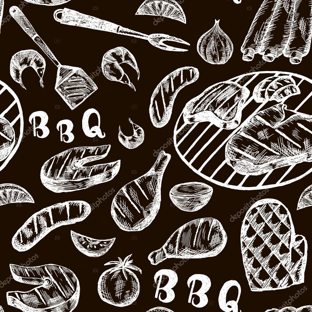 Pattern With Barbecue Food On Craft Paper Grill Hand Drawn Meat