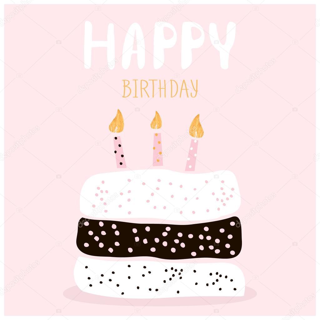 Cute Cake With Happy Birthday Wish Greeting Card Template Creative