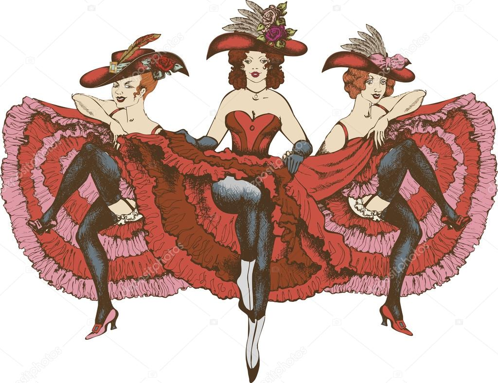 cancan dancers in beautiful dresses � stock photo