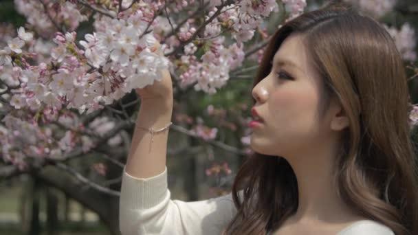 Krásné mladé japonské ženy hraje s květinami a její vlasy zpomalené