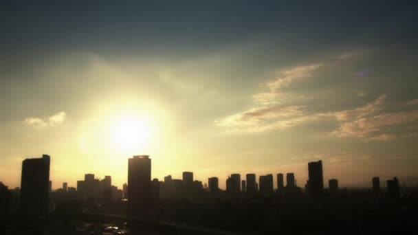 Sun goes down over the city in Japan