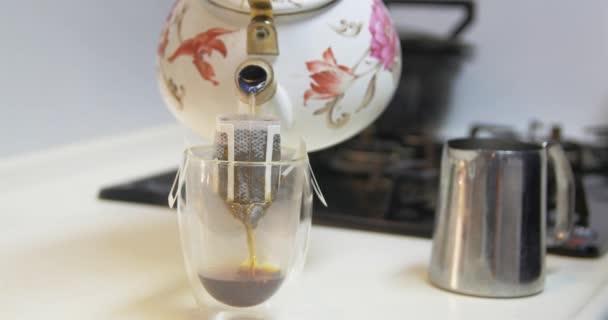 Čerstvou kávu blízko se 4k