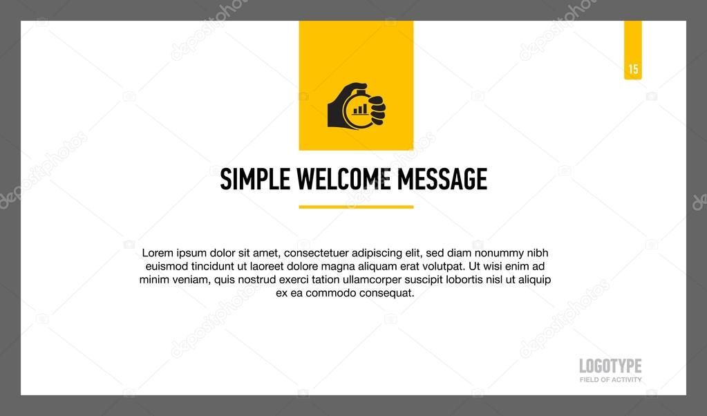 simple welcome message slide template stock vector