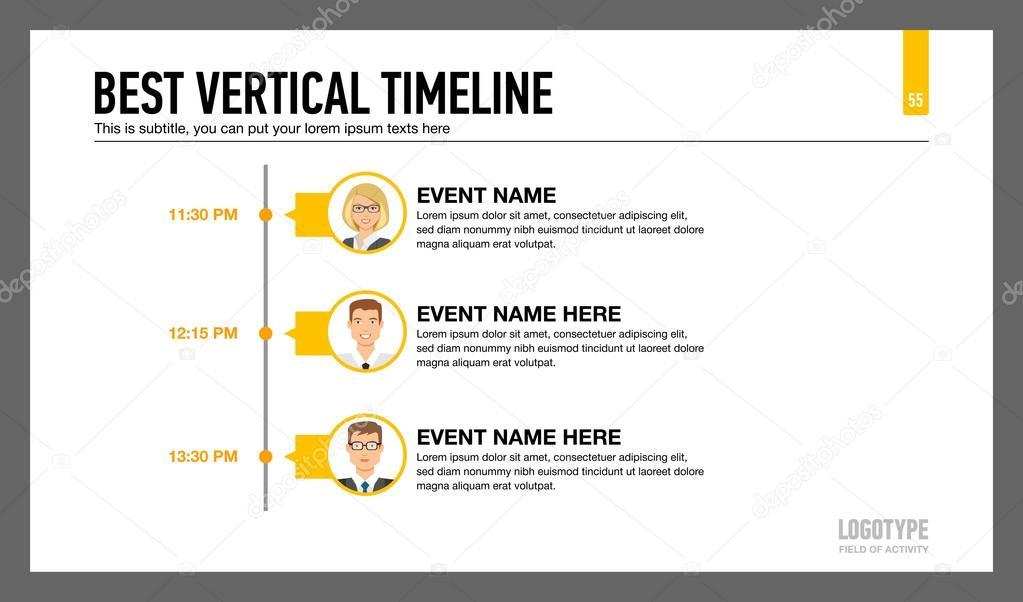 Best Vertical Timeline Template 2 Stock Vector