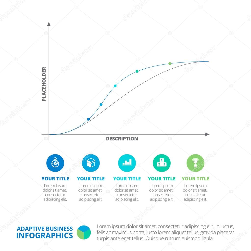 Line Chart Business Infographic Template Stock Vector
