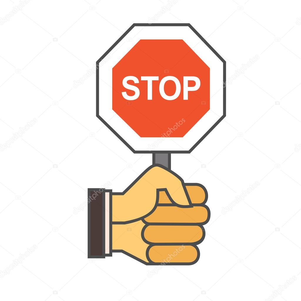 hand with stop sign icon stock vector surfsup vector gmail com rh depositphotos com stop sign vector file stop sign vector art