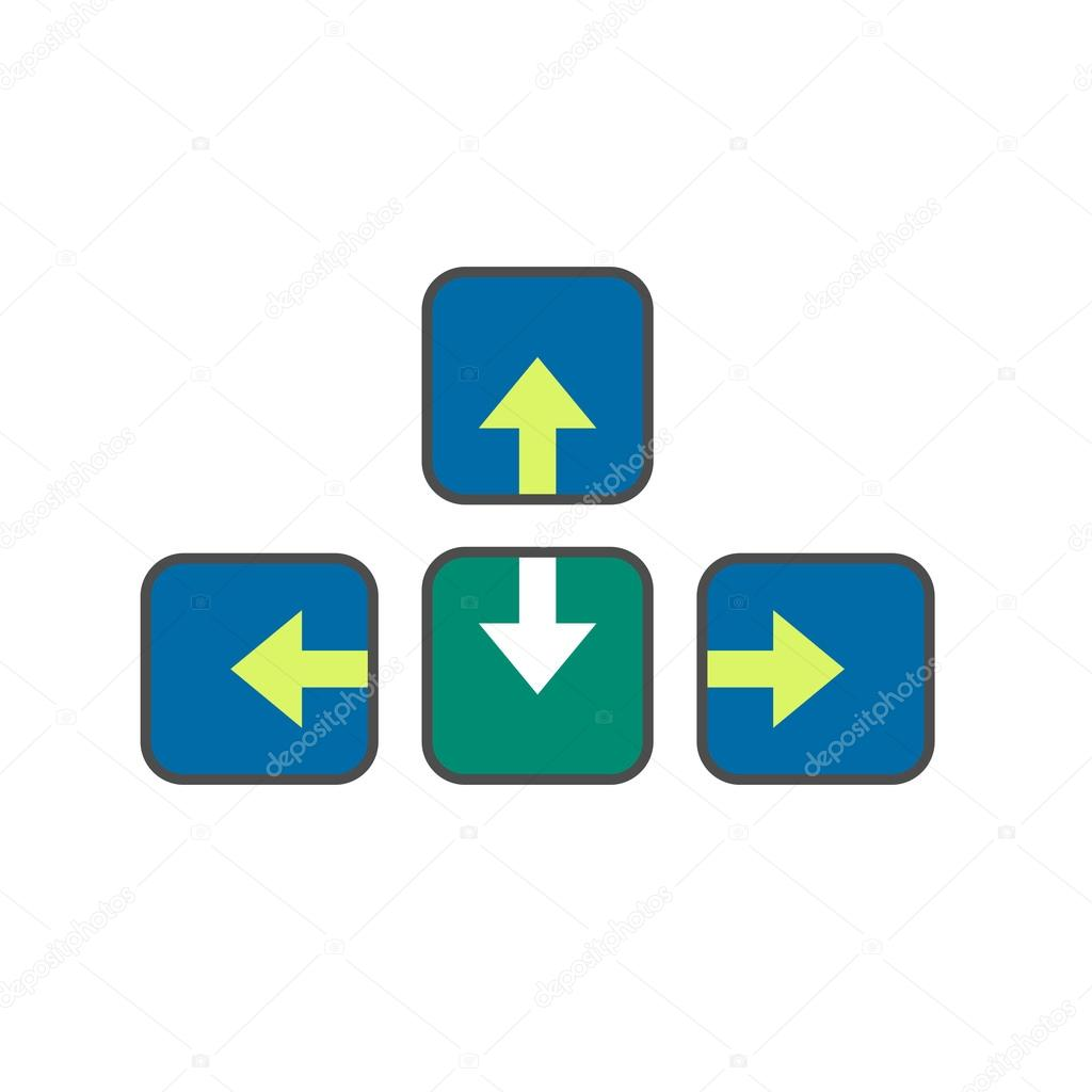 Keyboard Arrow Buttons Line Icon Stock Vector Surfsupctor